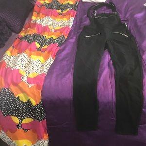 Black skinny Leg Overalls
